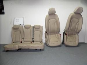 Audi Q5 08 σέτ καθίσματα εμπρός-πίσω με airbag μπέζ (κονσόλα-δερμάτινα)
